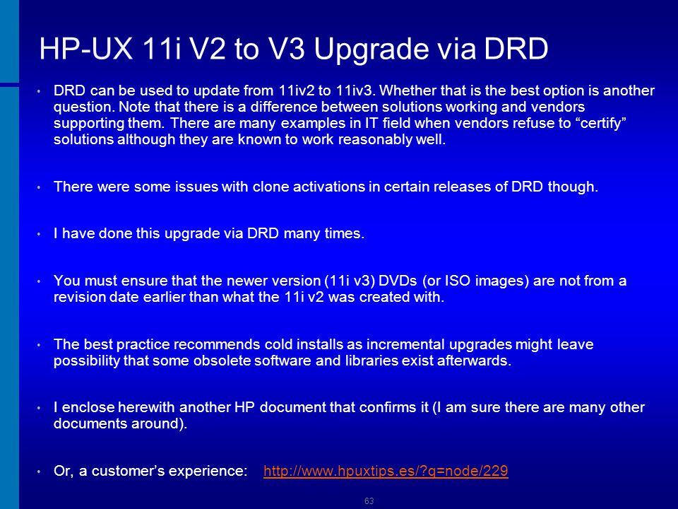 HP-UX 11i V2 to V3 Upgrade via DRD