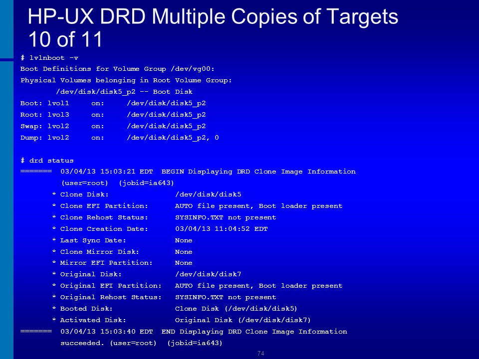 HP-UX DRD Multiple Copies of Targets 10 of 11