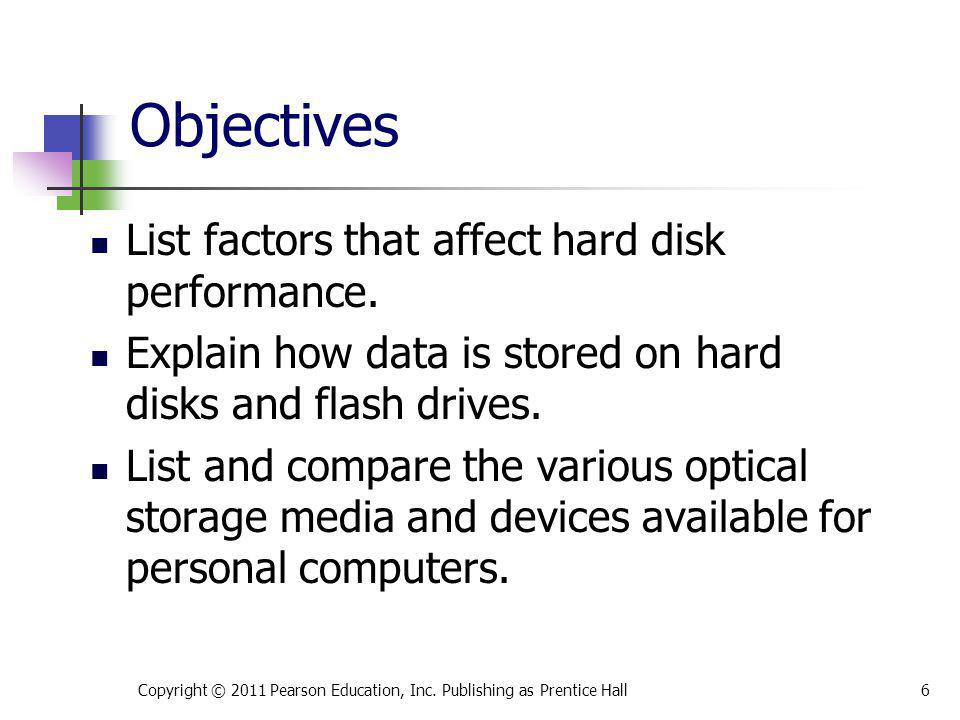 Objectives List factors that affect hard disk performance.
