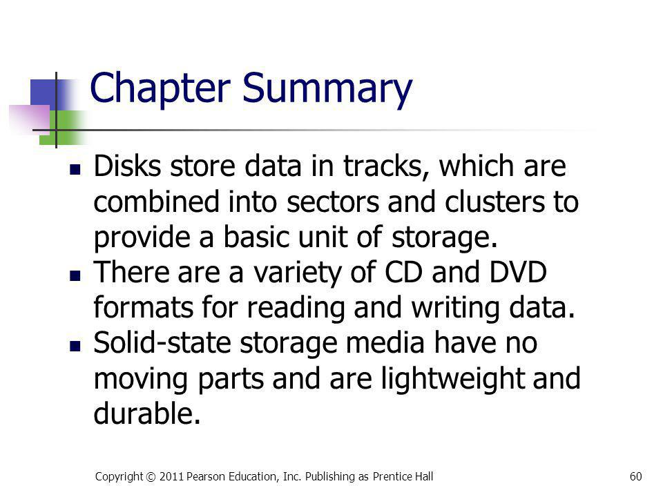 * 07/16/96. Chapter Summary. Disks store data in tracks, which are combined into sectors and clusters to provide a basic unit of storage.