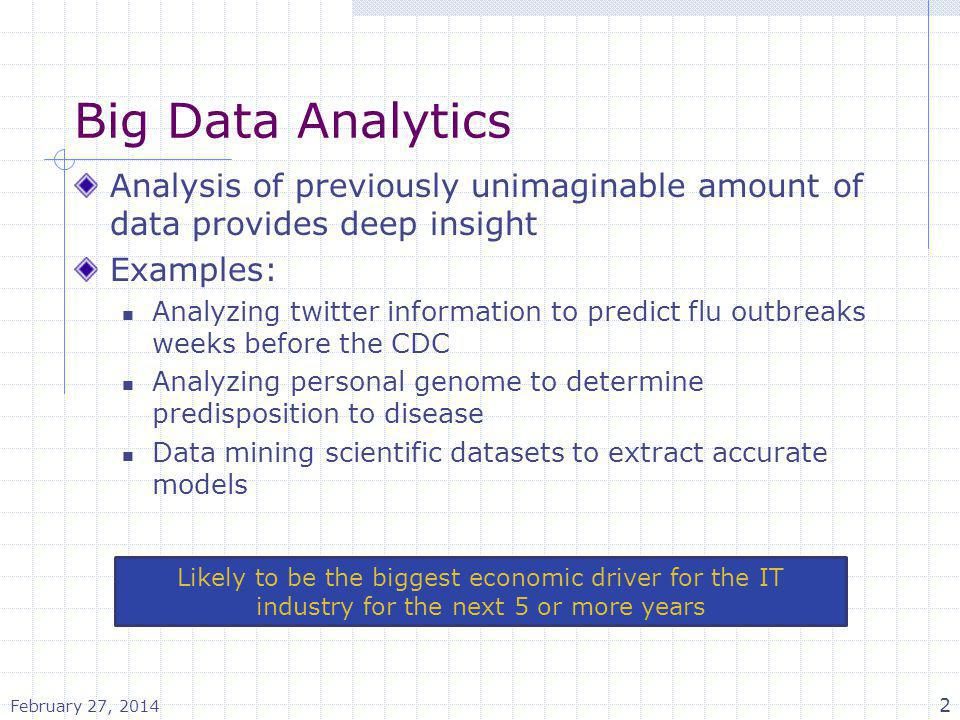 Big Data Analytics Analysis of previously unimaginable amount of data provides deep insight. Examples: