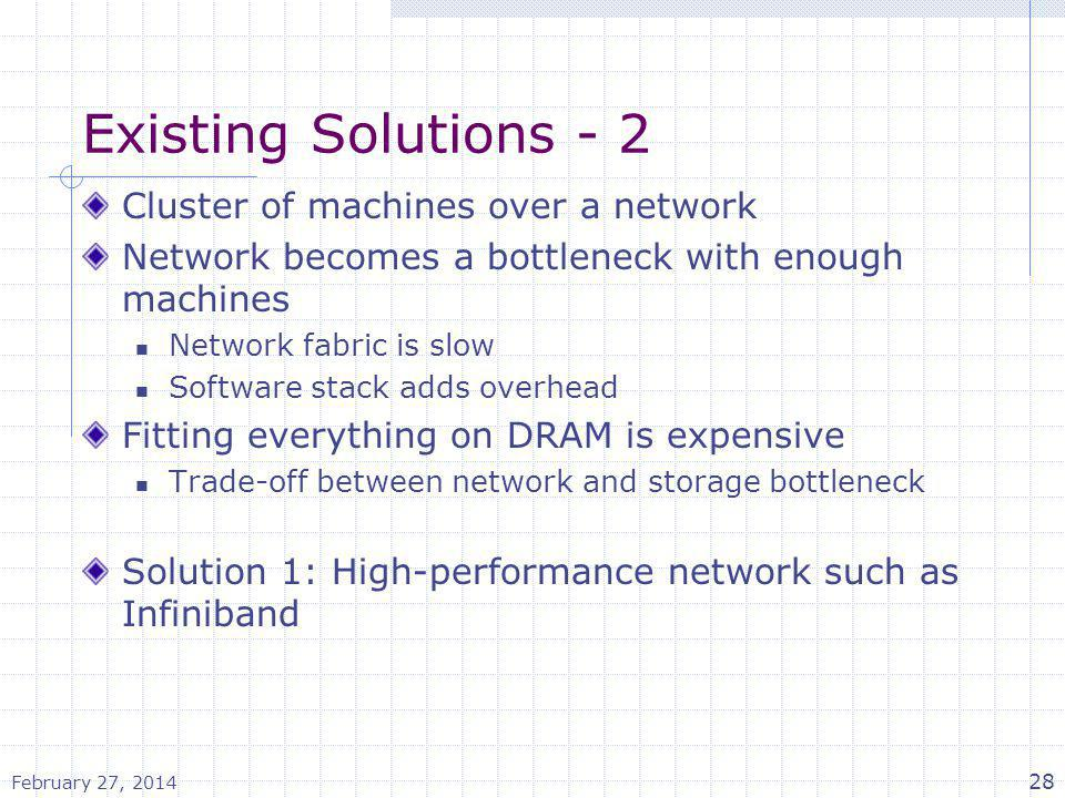 Existing Solutions - 2 Cluster of machines over a network