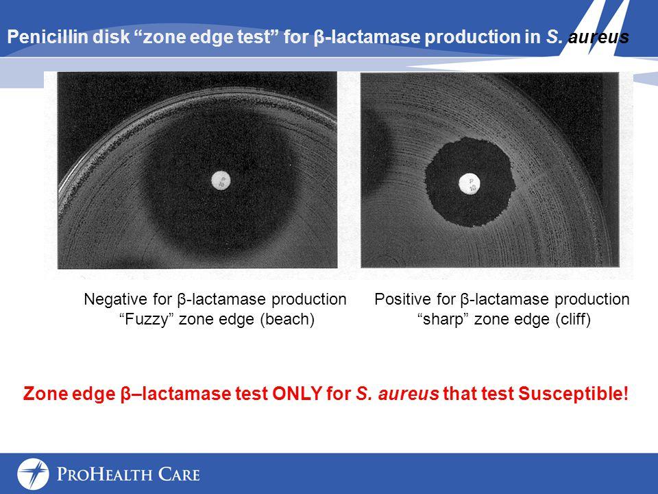 Zone edge β–lactamase test ONLY for S. aureus that test Susceptible!
