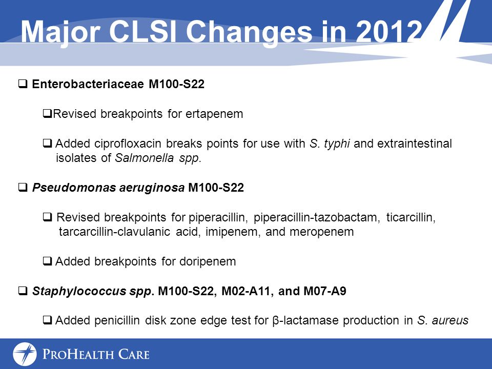 Major CLSI Changes in 2012 Enterobacteriaceae M100-S22