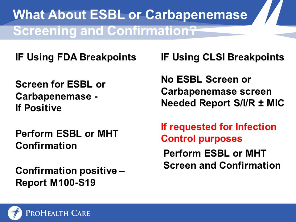 What About ESBL or Carbapenemase Screening and Confirmation