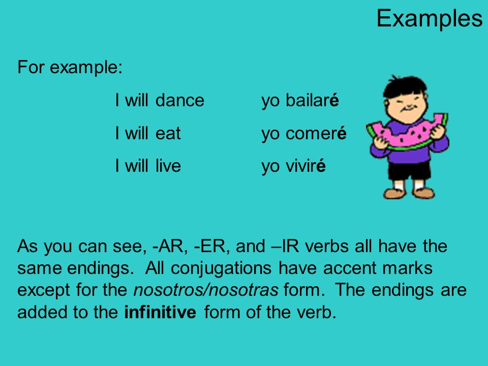 Examples For example: I will dance yo bailaré I will eat yo comeré