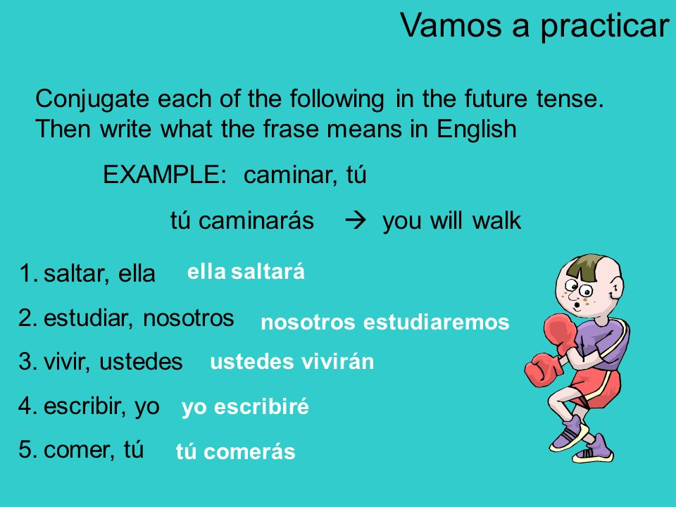 Vamos a practicarConjugate each of the following in the future tense. Then write what the frase means in English.
