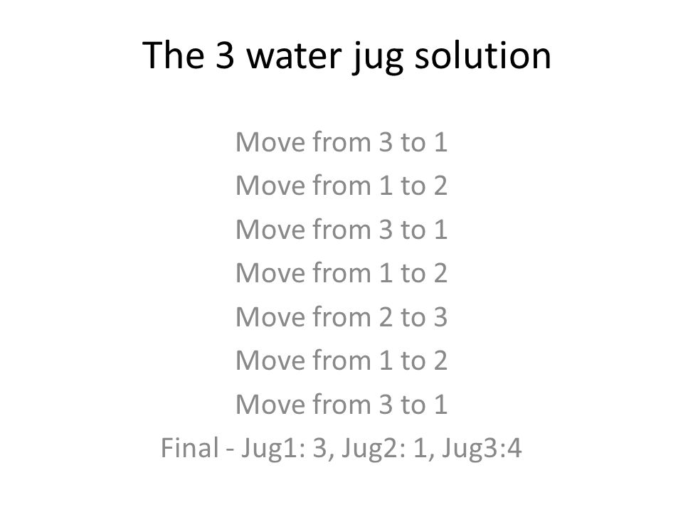 The 3 water jug solution Move from 3 to 1 Move from 1 to 2