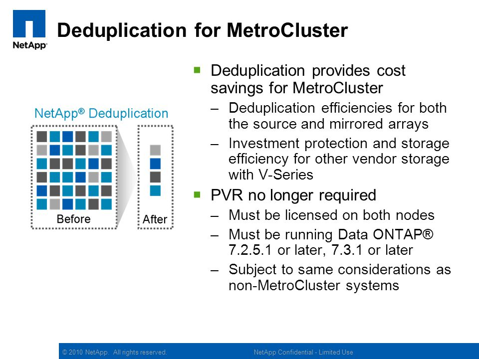 Deduplication for MetroCluster
