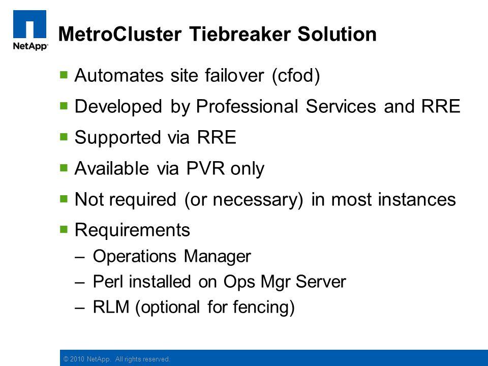 MetroCluster Tiebreaker Solution
