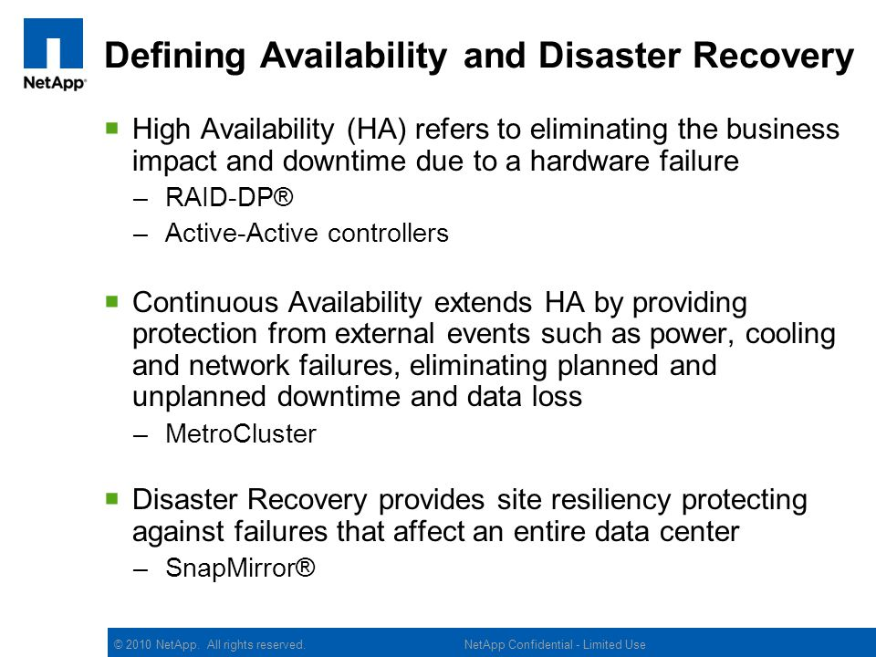 Defining Availability and Disaster Recovery