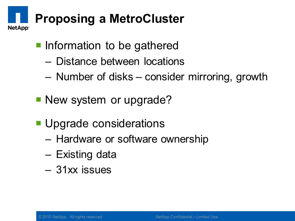 Proposing a MetroCluster