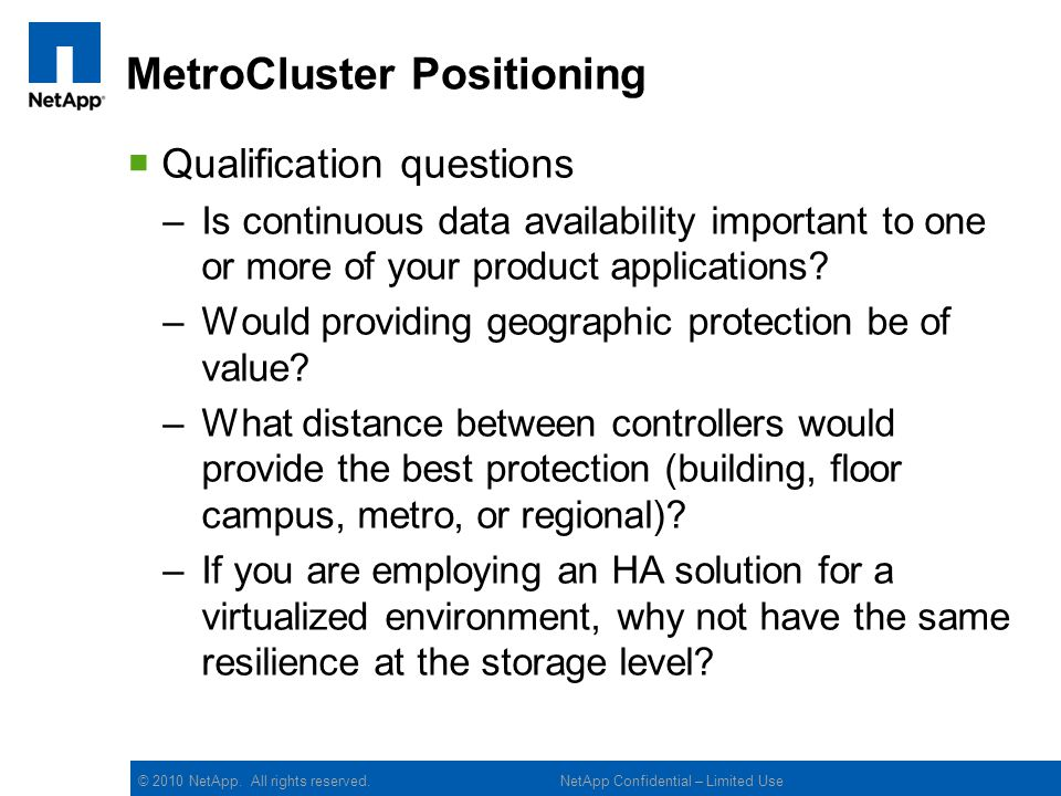 MetroCluster Positioning