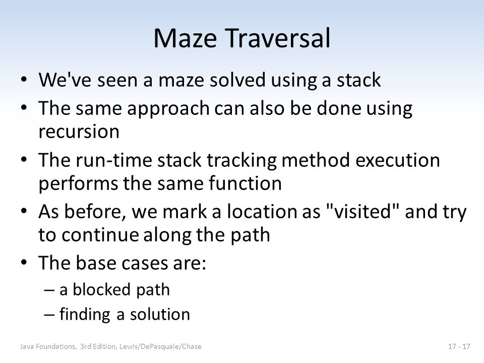 Maze Traversal We ve seen a maze solved using a stack