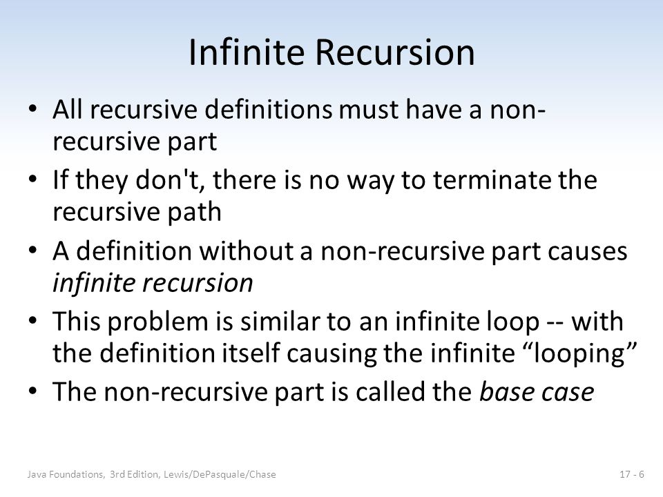 Infinite Recursion All recursive definitions must have a non-recursive part. If they don t, there is no way to terminate the recursive path.
