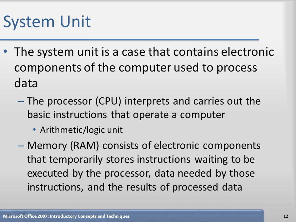 System Unit The system unit is a case that contains electronic components of the computer used to process data.