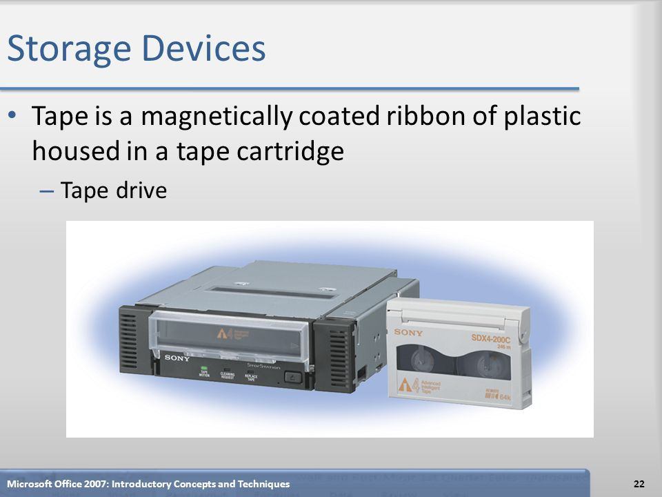 Storage Devices Tape is a magnetically coated ribbon of plastic housed in a tape cartridge. Tape drive.