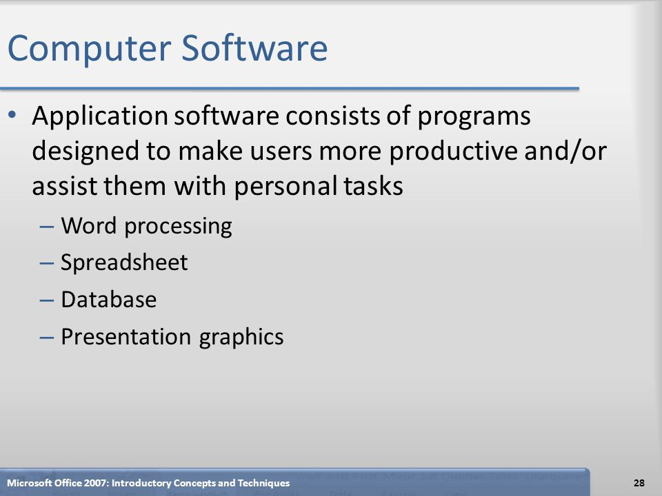 Computer Software Application software consists of programs designed to make users more productive and/or assist them with personal tasks.