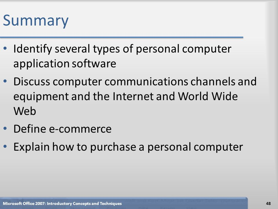 Summary Identify several types of personal computer application software.