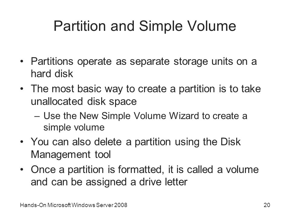 Partition and Simple Volume