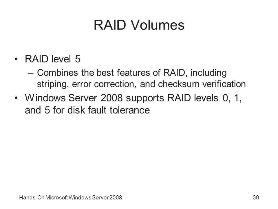 RAID Volumes RAID level 5