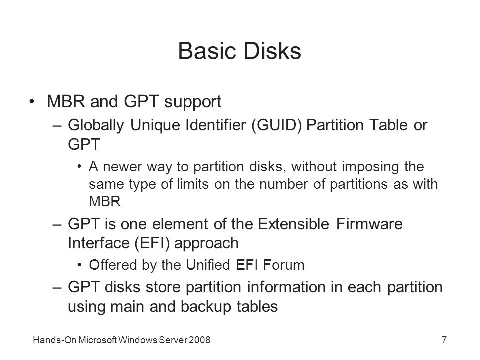 Basic Disks MBR and GPT support