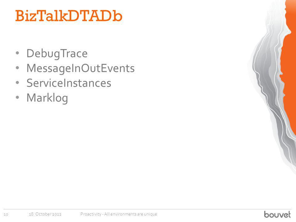 BizTalkDTADb DebugTrace MessageInOutEvents ServiceInstances Marklog
