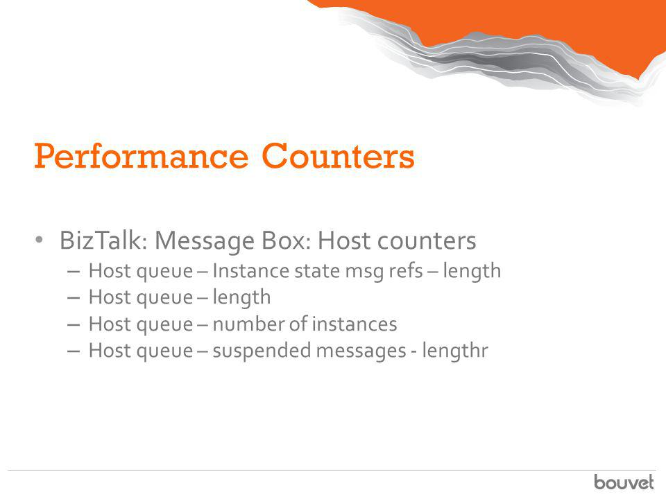 Performance Counters BizTalk: Message Box: Host counters
