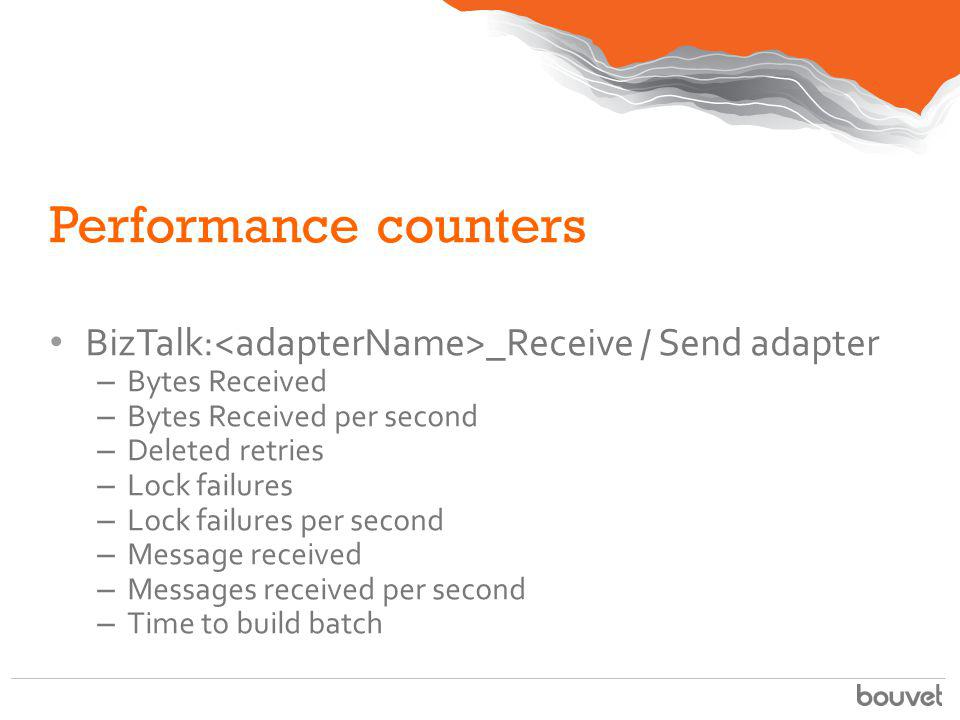 Performance counters BizTalk:<adapterName>_Receive / Send adapter. Bytes Received. Bytes Received per second.