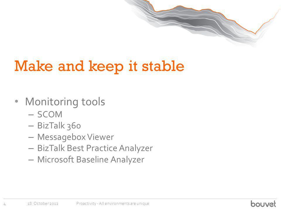 Make and keep it stable Monitoring tools SCOM BizTalk 360