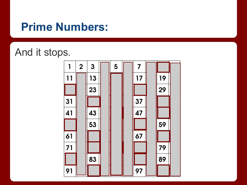 Prime Numbers: And it stops.