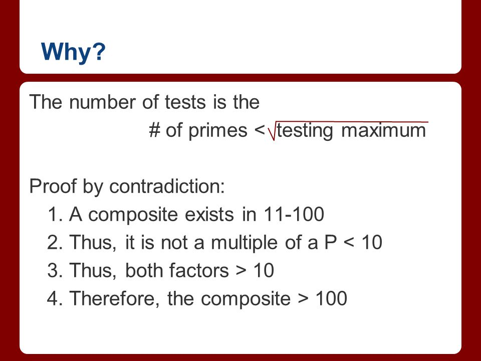 Why The number of tests is the # of primes < testing maximum