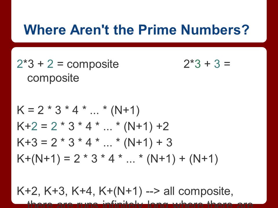 Where Aren t the Prime Numbers