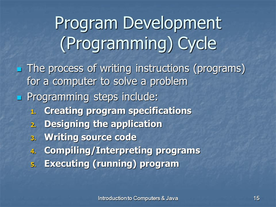 Program Development (Programming) Cycle
