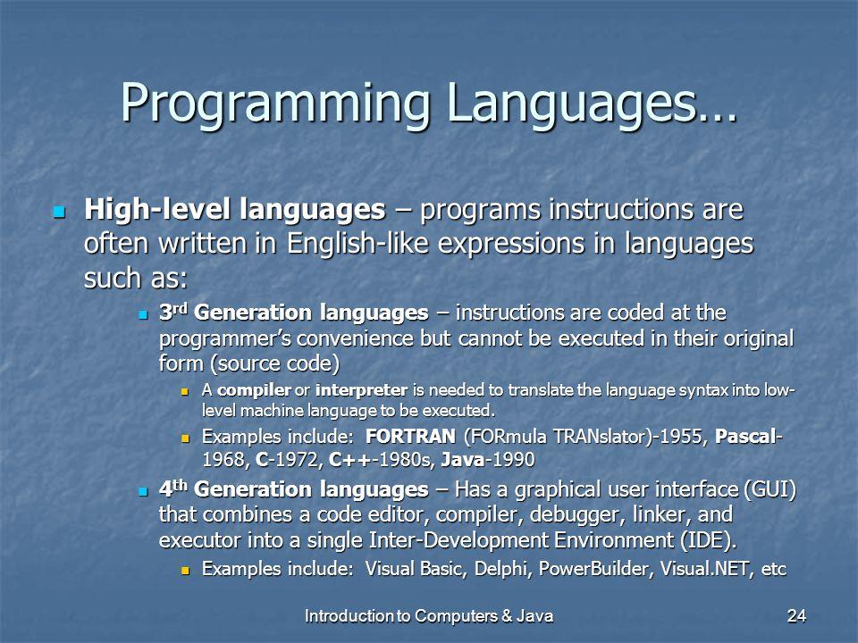 Programming Languages…