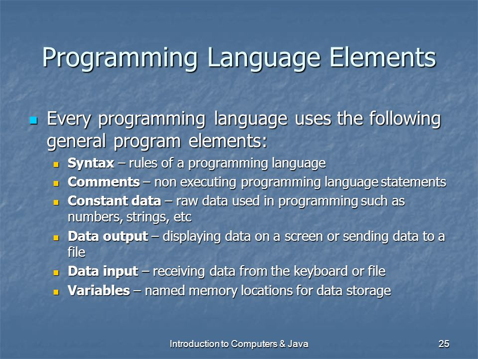 Programming Language Elements