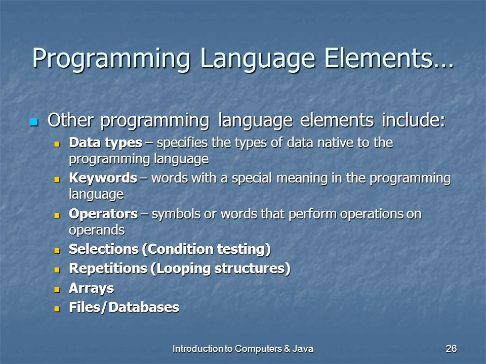 Programming Language Elements…