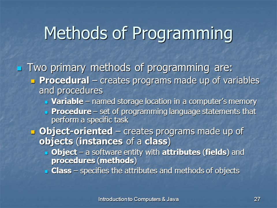 Methods of Programming