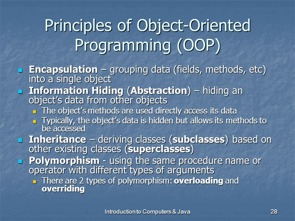 Principles of Object-Oriented Programming (OOP)