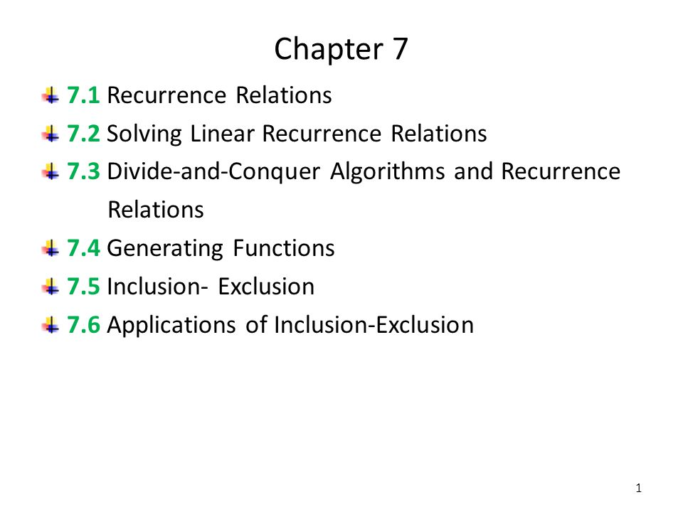 Chapter 7 7.1 Recurrence Relations