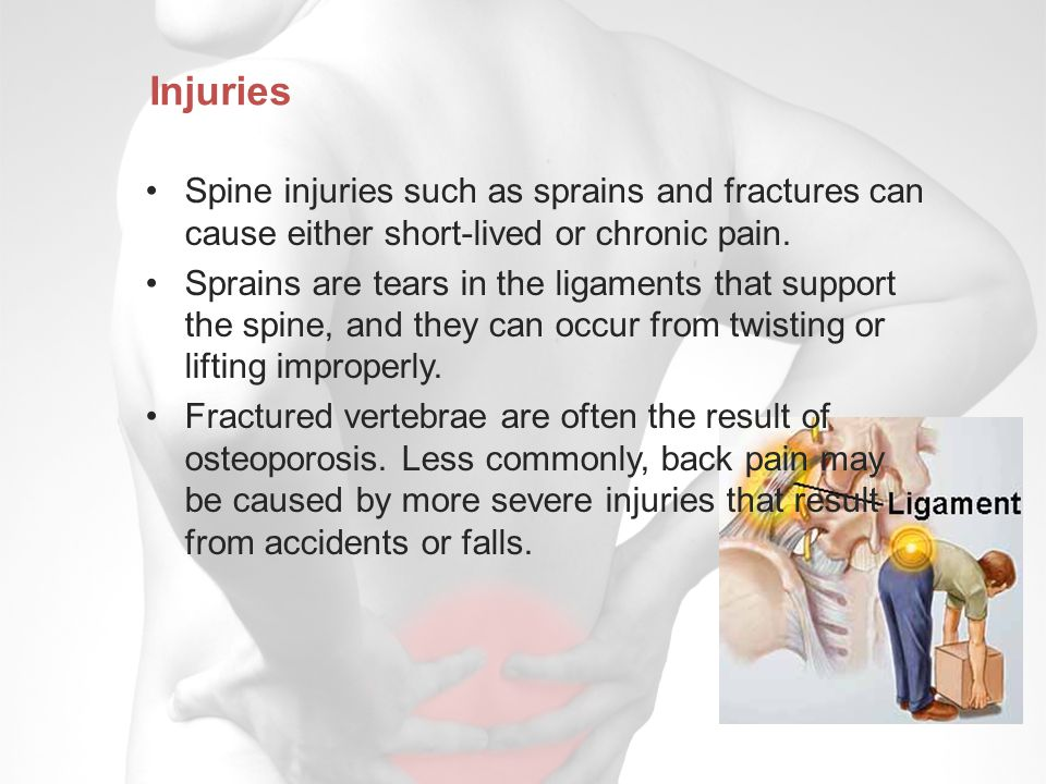Injuries Spine injuries such as sprains and fractures can cause either short-lived or chronic pain.