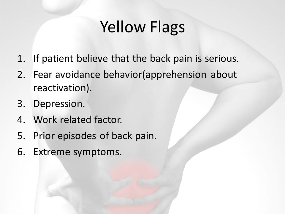 Yellow Flags If patient believe that the back pain is serious.