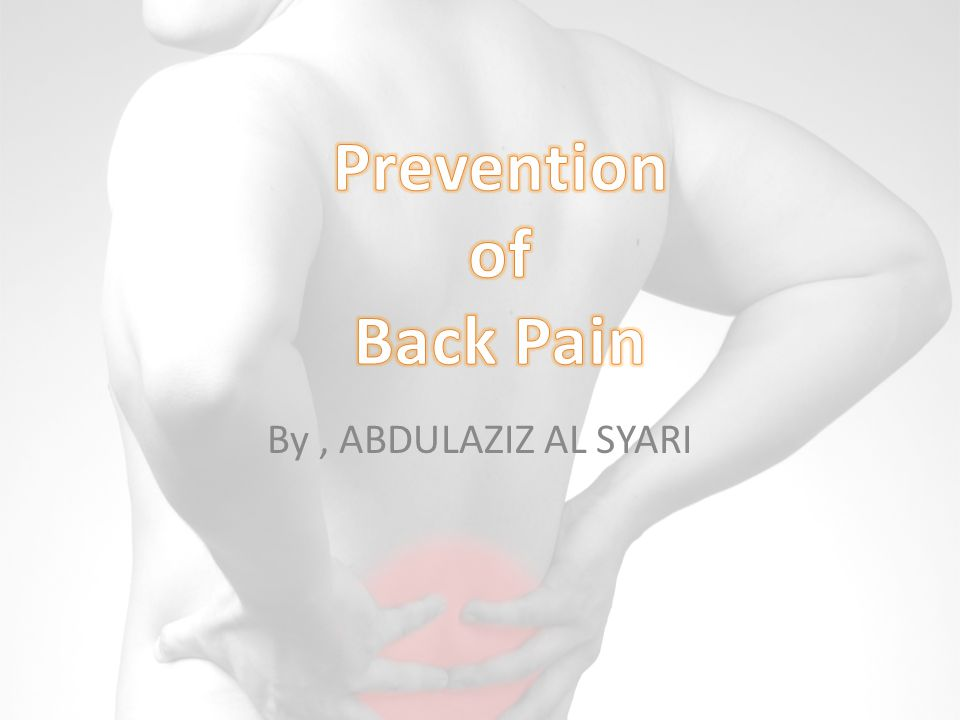 Prevention of Back Pain