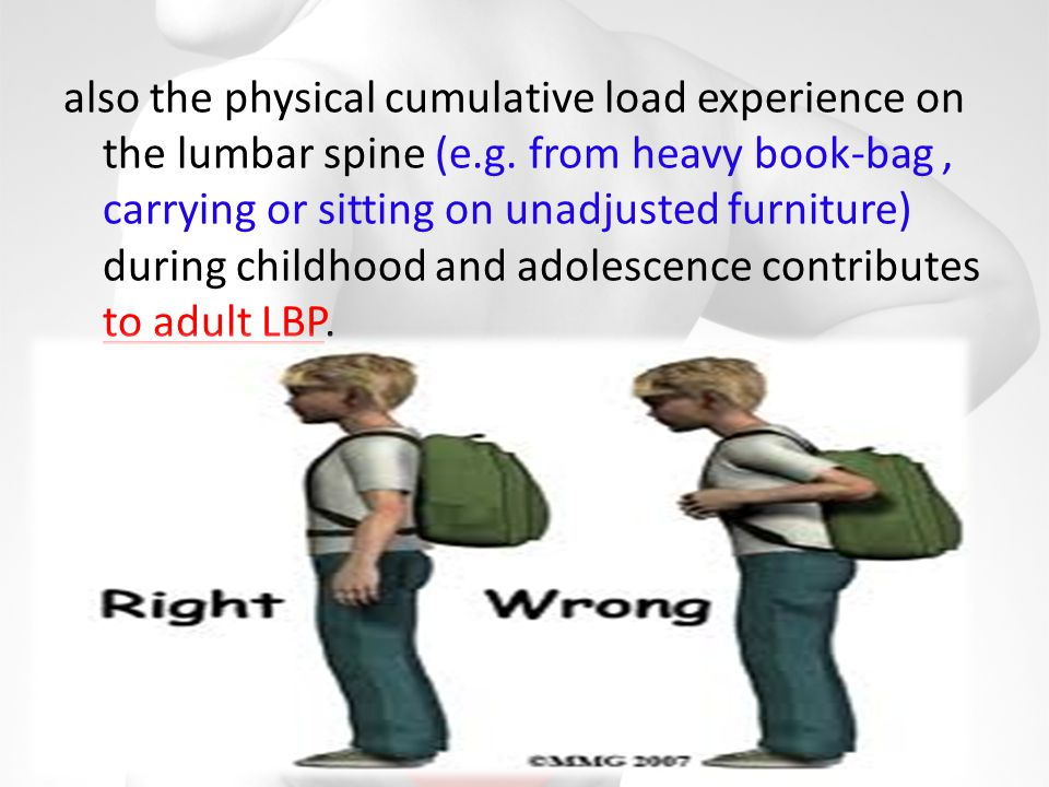 also the physical cumulative load experience on the lumbar spine (e. g
