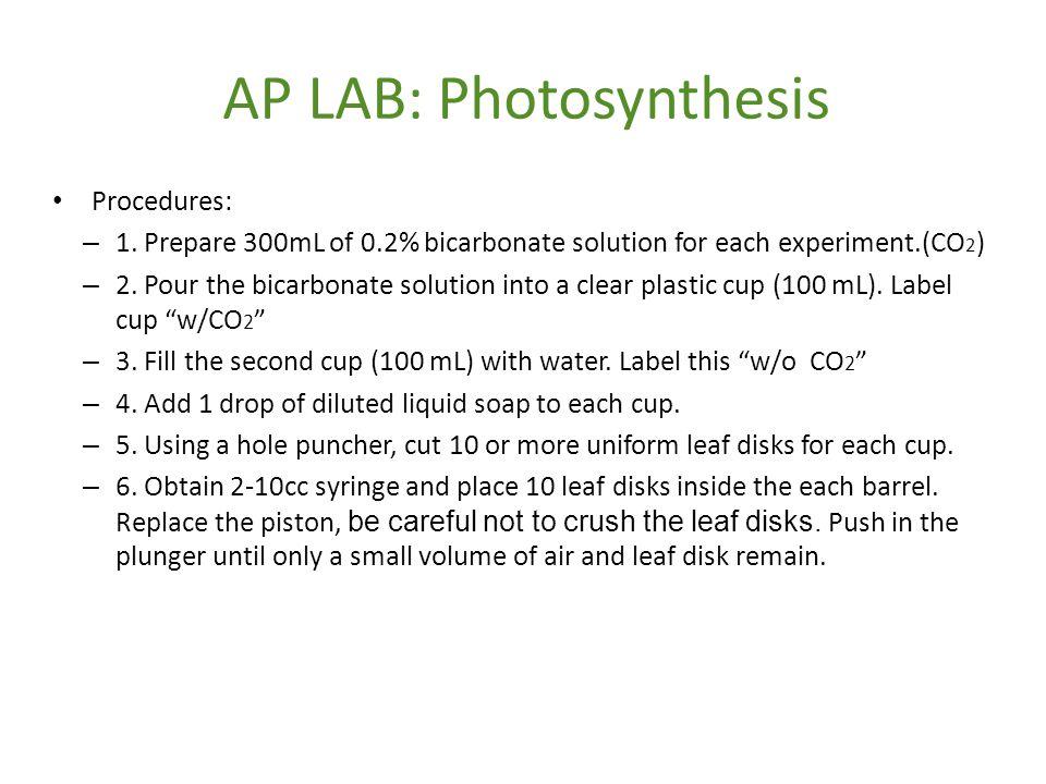 AP LAB: Photosynthesis