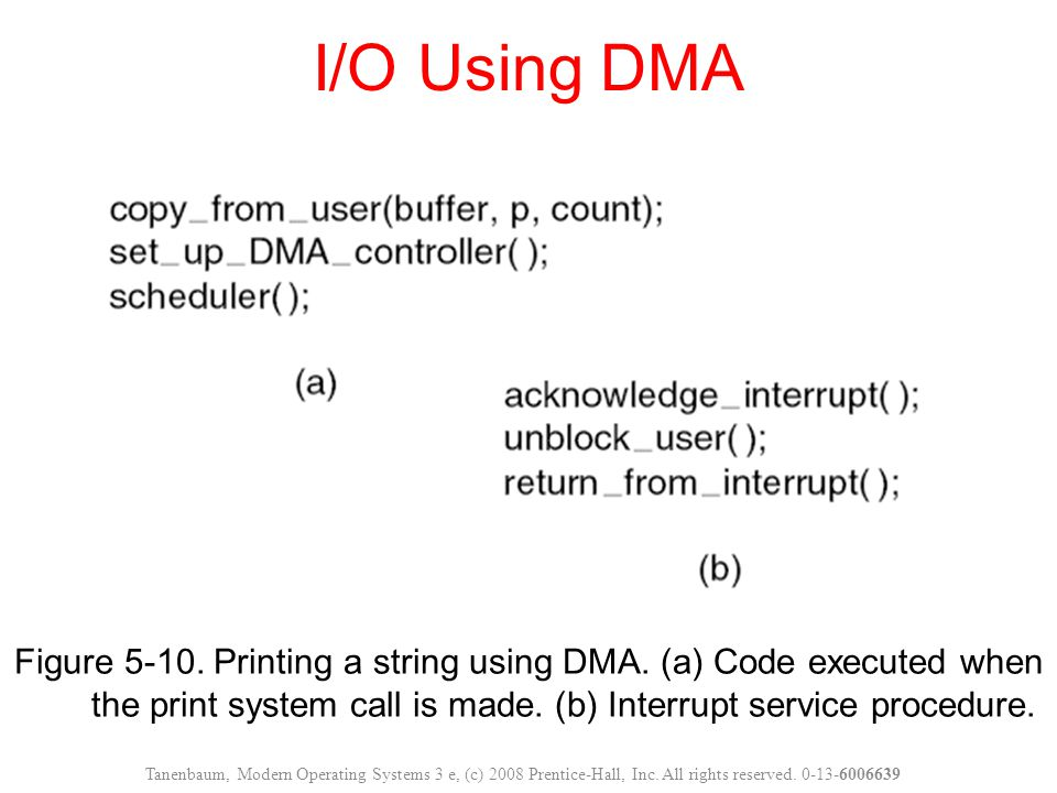 I/O Using DMA Figure 5-10. Printing a string using DMA. (a) Code executed when the print system call is made. (b) Interrupt service procedure.