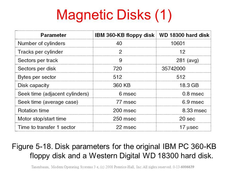Magnetic Disks (1) Figure 5-18. Disk parameters for the original IBM PC 360-KB floppy disk and a Western Digital WD 18300 hard disk.
