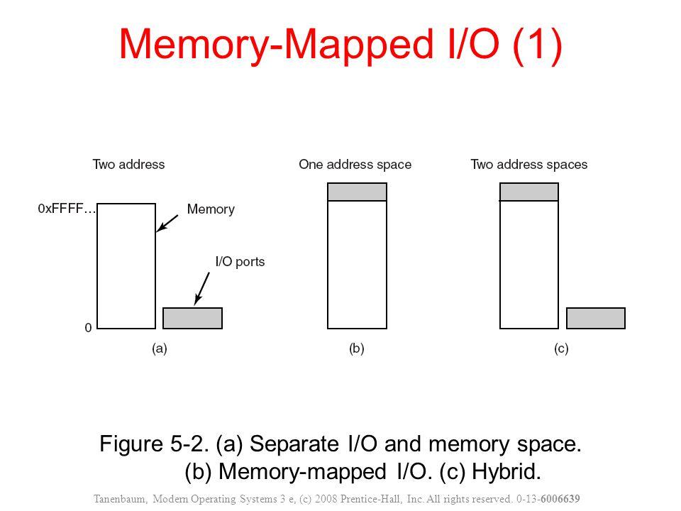 Memory-Mapped I/O (1) Figure 5-2. (a) Separate I/O and memory space. (b) Memory-mapped I/O. (c) Hybrid.