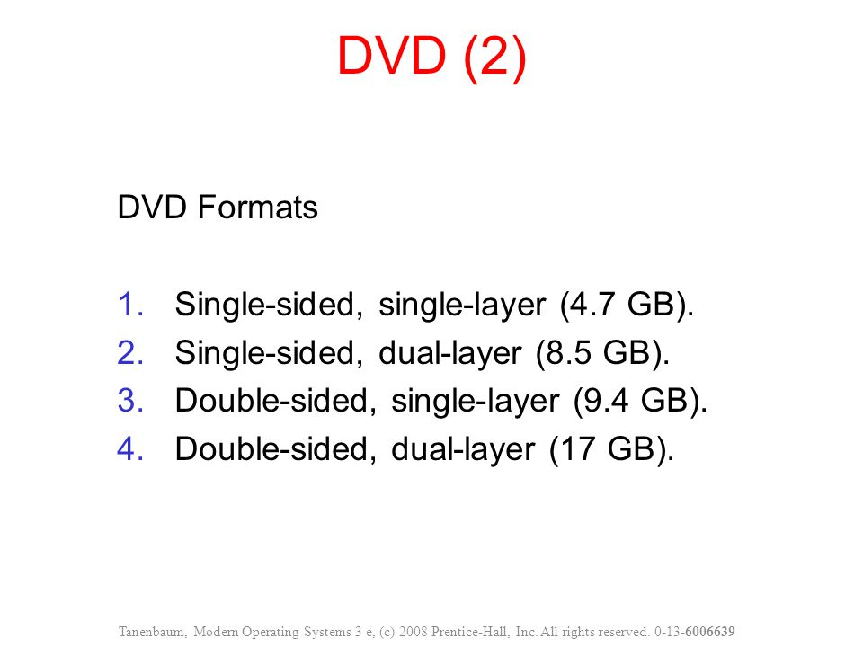 DVD (2) DVD Formats Single-sided, single-layer (4.7 GB).