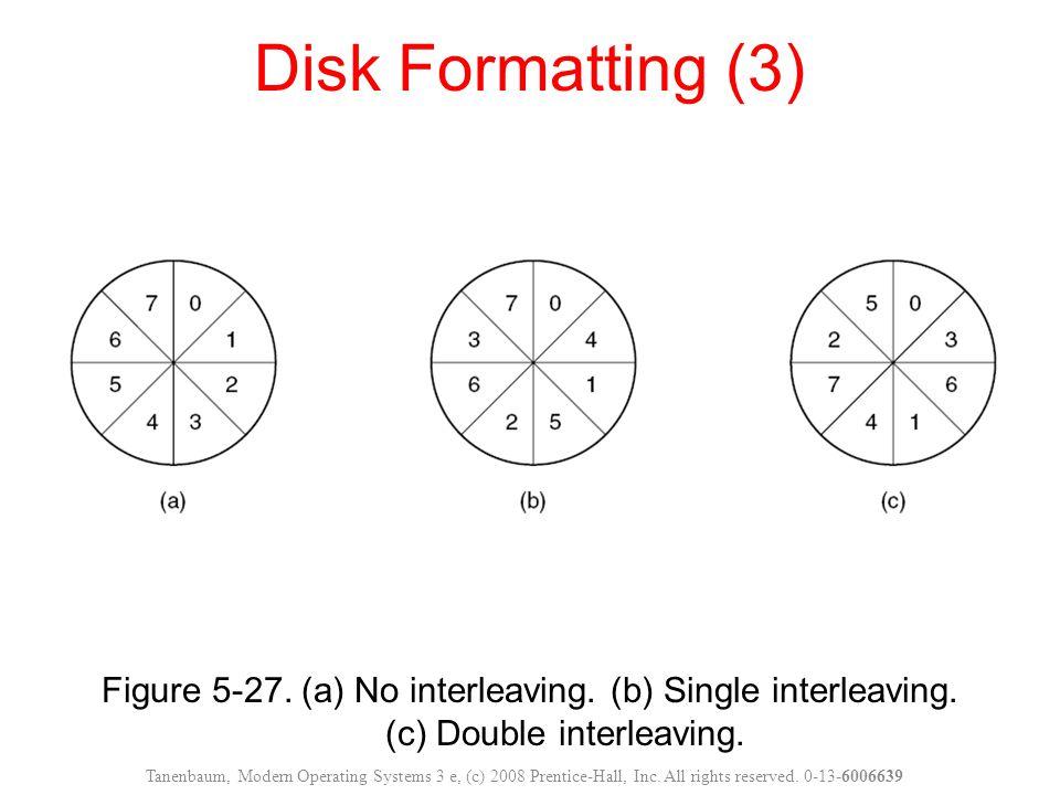 Disk Formatting (3) Figure 5-27. (a) No interleaving. (b) Single interleaving. (c) Double interleaving.